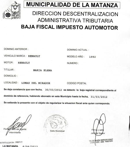 Baja de patentes municipalizadas