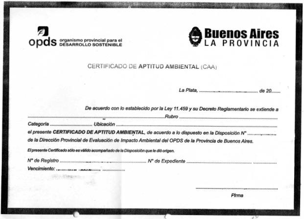 Certificado Aptitud Ambiental Certificado de Aptitud